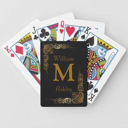 Cartes de jeu décorées d'un monogramme customisées cartes de poker