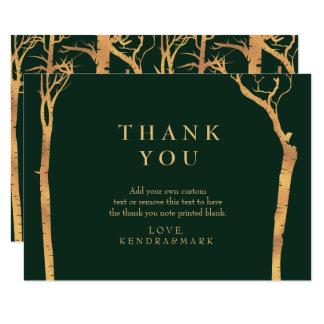 Cartes de Merci d'arbre de bouleau d'or Carton D'invitation 8,89 Cm X 12,70 Cm