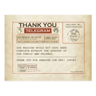 Cartes de Merci de télégramme pour épouser Carte Postale