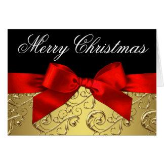 Cartes de Noël élégantes de remous de rouge et d'o