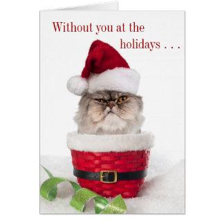 Cartes de Noël excentriques drôles de chat