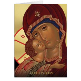 Cartes de Noël orthodoxes avec Vierge Marie