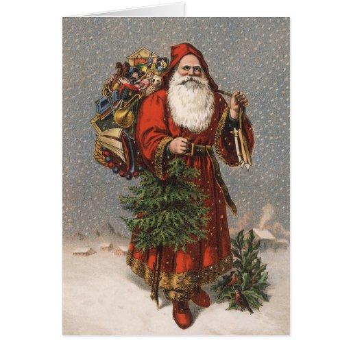 Cartes de Noël vintages de Père Noël d'Allemand
