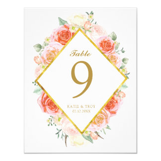 Cartes de nombre de Tableau de roses de corail, de Carton D'invitation 10,79 Cm X 13,97 Cm