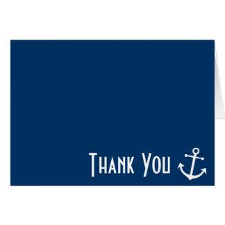 Cartes de note de Merci d'ancre de bateau (bleu-fo