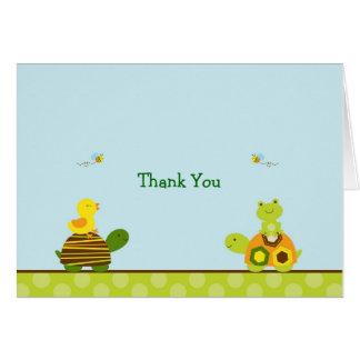 Cartes de note de Merci de canard de tortue de
