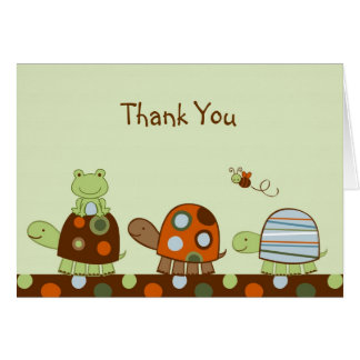 Cartes de note de Merci de grenouille de tortue de