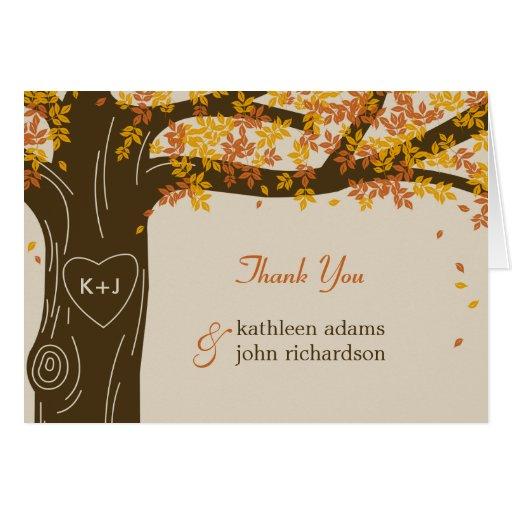 Cartes de note de Merci de mariage de automne de c