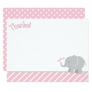 Cartes de note de Merci d'éléphant | rose et gris Carton D'invitation 10,79 Cm X 13,97 Cm
