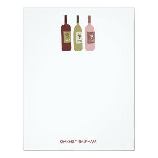 Cartes de note de papeterie de bouteilles de vin carton d'invitation 10,79 cm x 13,97 cm