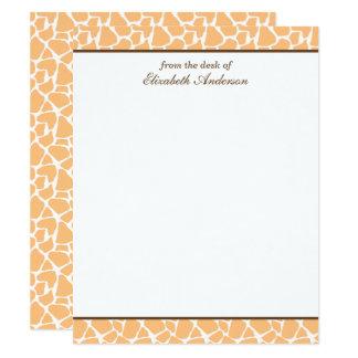 Cartes de note plates de motif orange mignon de carton d'invitation 10,79 cm x 13,97 cm