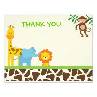 Cartes de notes de Merci de safari de jungle Bristols Personnalisés
