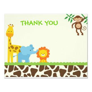 Cartes de notes de Merci de safari de jungle Carton D'invitation 10,79 Cm X 13,97 Cm