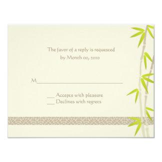 Cartes- de réponse en bambou de conception carton d'invitation 10,79 cm x 13,97 cm