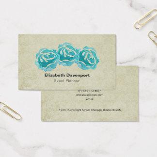 Cartes De Visite 3 roses turquoises d'aquarelle sur le cru bronzage