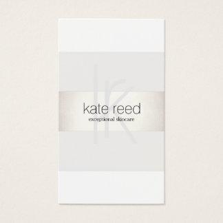 Cartes De Visite Argent moderne blanc de FAUX de monogramme élégant