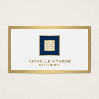 Cartes De Visite Bleu marine élégant/concepteur principal grec