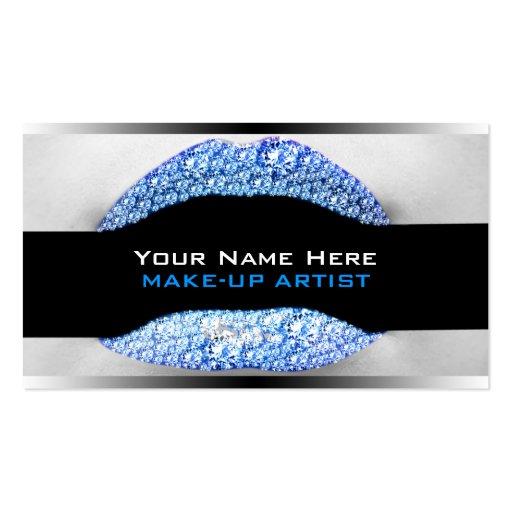 Cartes de visite bleus d'artiste de maquillage de  carte de visite