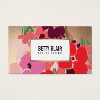 Cartes De Visite Concepteur floral d'art peint par cru élégant