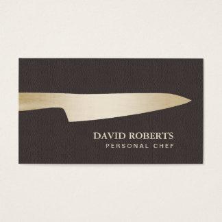 Cartes De Visite Cuir de Brown foncé de couteau de chef d'or de