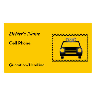 Cartes de visite de damier de chauffeur de taxi cartes de visite professionnelles