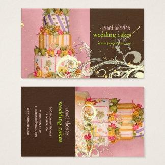 Cartes de visite de gâteau de mariage de rose et