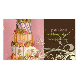 Cartes de visite de gâteau de mariage de rose et d cartes de visite professionnelles