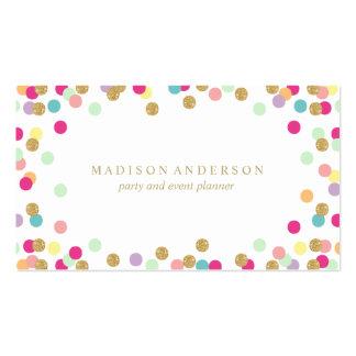 Cartes de visite de la partie | de confettis carte de visite standard