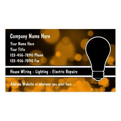 Cartes de visite d'électricien cartes de visite professionnelles