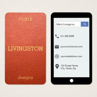 Cartes De Visite Faux style en cuir bronzage d'iPhone de Brown
