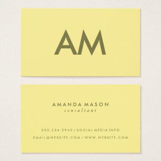Cartes De Visite Jaune minimaliste de monogramme