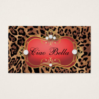 Cartes De Visite Léopard bronzage noir rouge de Ciao Bella de 311