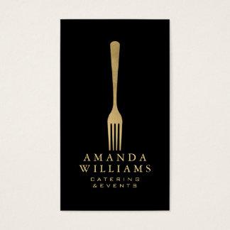 Cartes De Visite Logo élégant de restauration de fourchette d'or de