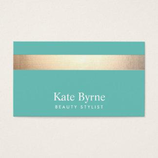 Cartes De Visite L'or (aucun éclat) a barré la turquoise élégante
