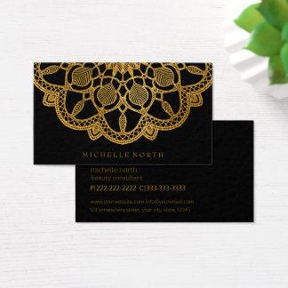 Cartes De Visite Mandala élégant ID353 d'or
