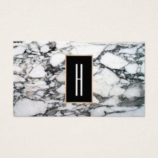 Cartes De Visite Monogramme moderne, marbre noir et blanc, pierre