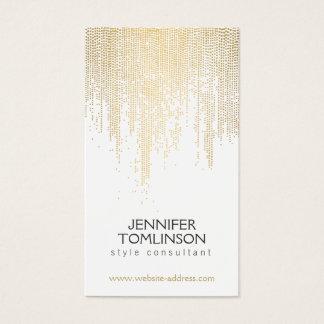Cartes De Visite Motif de points élégant de confettis d'or de Faux