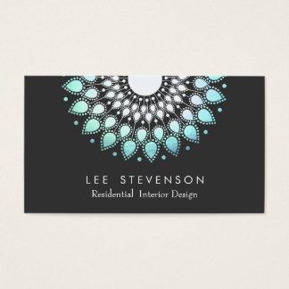 Cartes De Visite Motif fleuri élégant de regard d'aluminium de