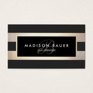 Cartes De Visite Noir rayé de monogramme élégant et feuille d'or de