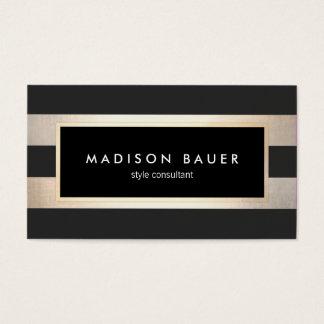 Cartes De Visite Noir rayé élégant moderne et feuille d'or 2 de