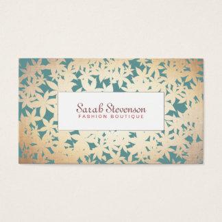 Cartes De Visite Or de boutique de mode et motif floral turquoise