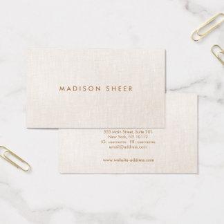 Cartes De Visite Professionnel de toile beige moderne et léger
