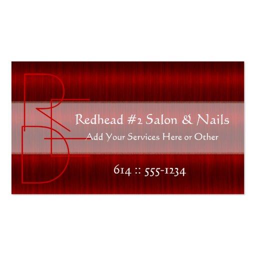 Cartes de visite rouges de beauté de cheveux de st cartes de visite personnelles