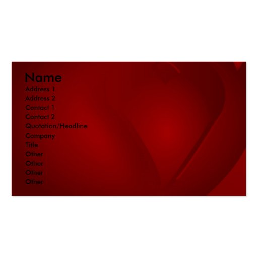 Cartes de visite rouges sang de coeurs modèle de carte de visite