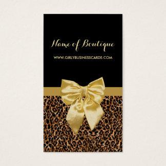 Cartes De Visite Ruban jaune Girly d'empreinte de léopard élégant