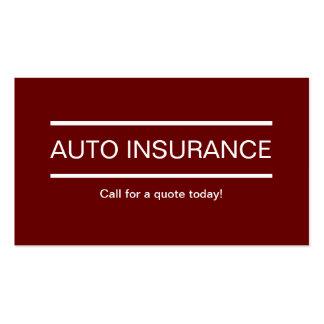 Cartes de visite simples d'assurance automobile carte de visite standard