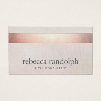 Cartes De Visite Toile beige moderne élégante de feuille d'or rose
