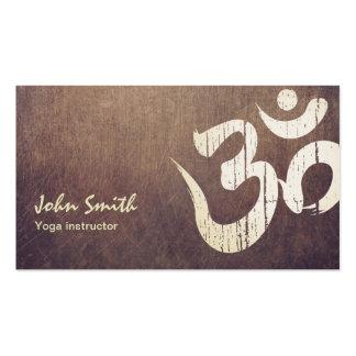 Cartes de visite vintages de yoga de symbole de modèles de cartes de visite