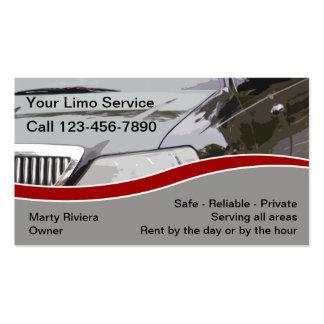 Cartes d'entreprise de services de limousine carte de visite standard