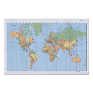 Cartes du monde, affiche imprimée de carte